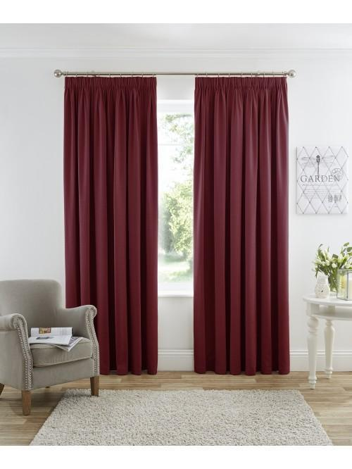 Harmony Pencil Pleat Blackout Curtains Red