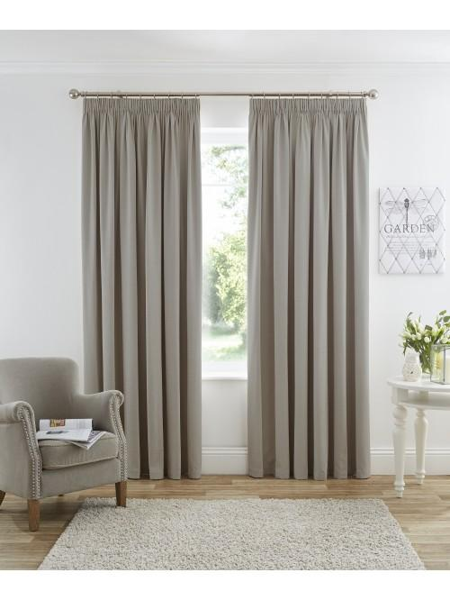 Harmony Pencil Pleat Blackout Curtains Taupe