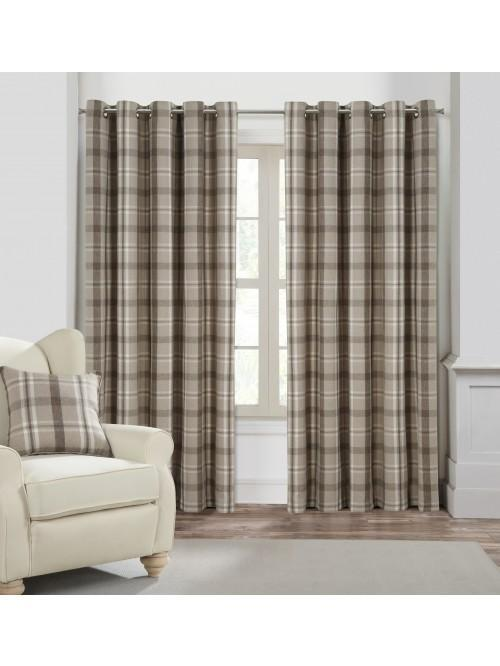 Harris Woven Check Curtains Natural