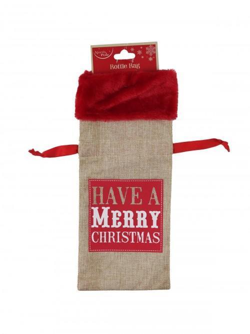 Christmas Hessian Look Wine Bottle Bag