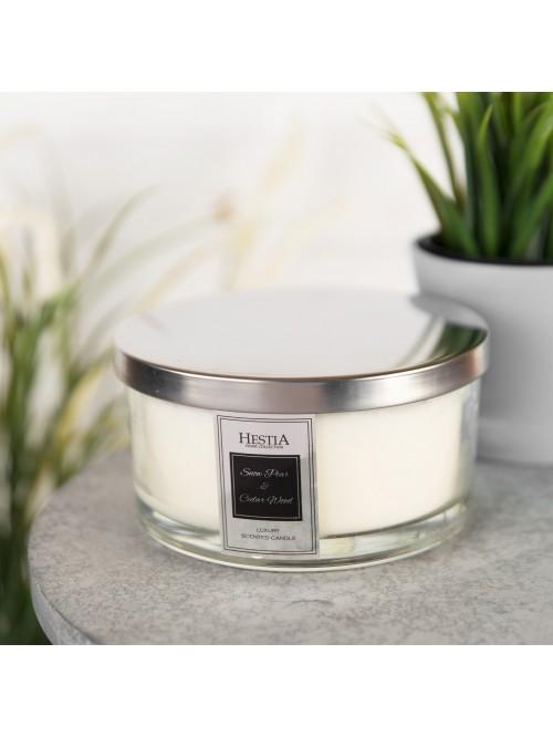 Hestia 650g Triple Wick Scented Candle - Snow Pear & Cedar Wood