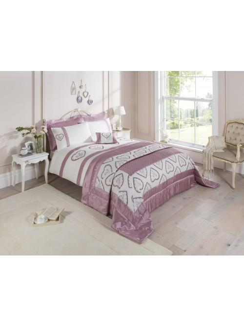 Heart Embroidered Panel Bedding Collection Heather