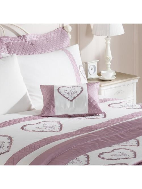 Heart Embroidered Panel Bed Cushion Heather