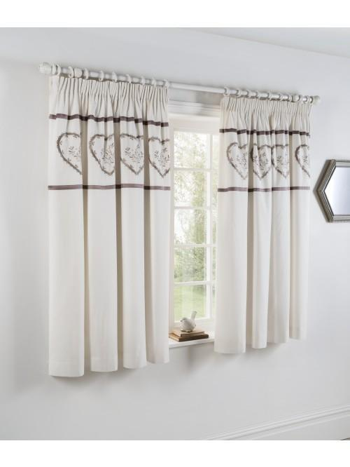 Heart Embroidered Panel Embellished Curtain Natural