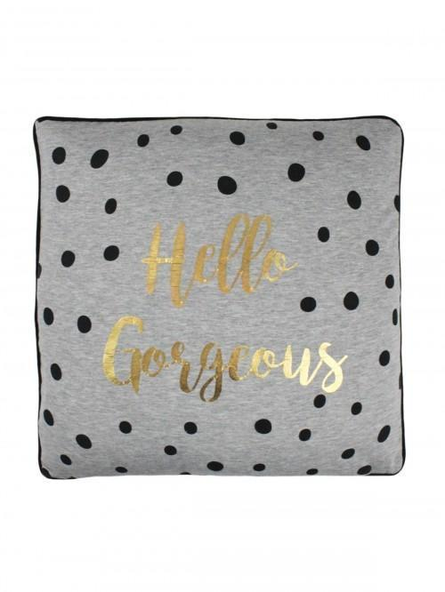 Hello Gorgeous Hello Handsome Reversible Cushion Grey