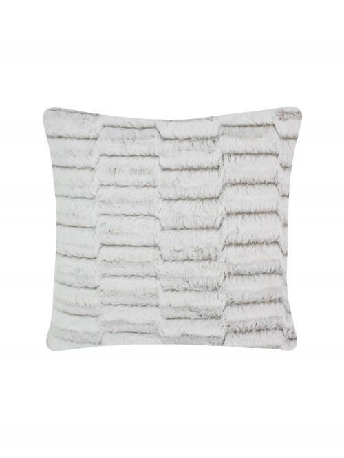 Geo Faux Fur Cushion Natural