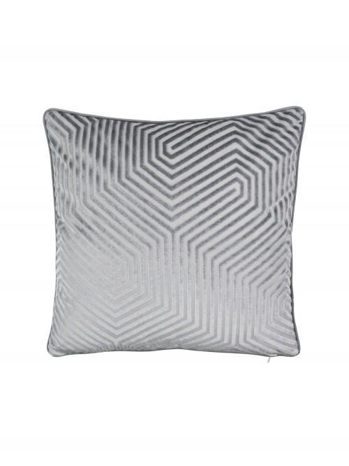 Hex Geo Velvet Cushion Grey