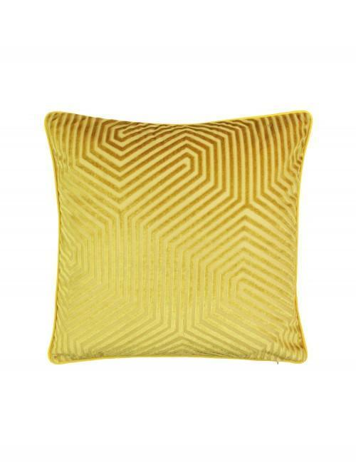 Hex Geo Velvet Cushion Ochre