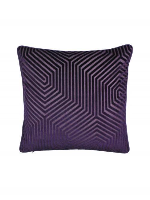 Hex Geo Velvet Cushion Plum