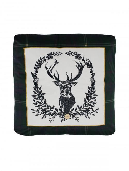 Highland Stag Cushion Green