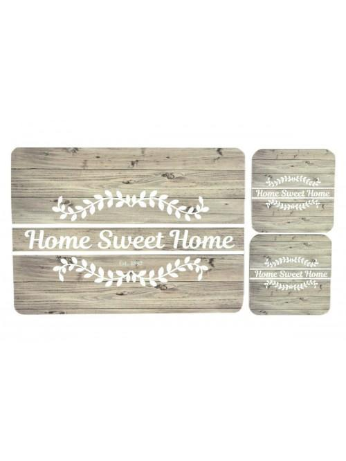 Home Sweet Home Cork Placemat & Coaster Set Duck Egg
