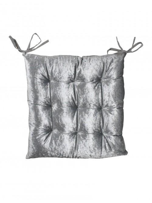 Hotel Collection Crushed Velvet Effect Seat Pad Grey