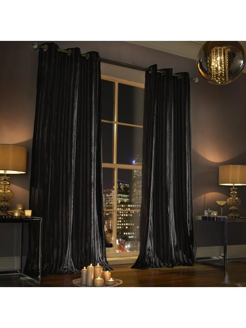 Kylie Minogue Iliana Eyelet Curtains Black