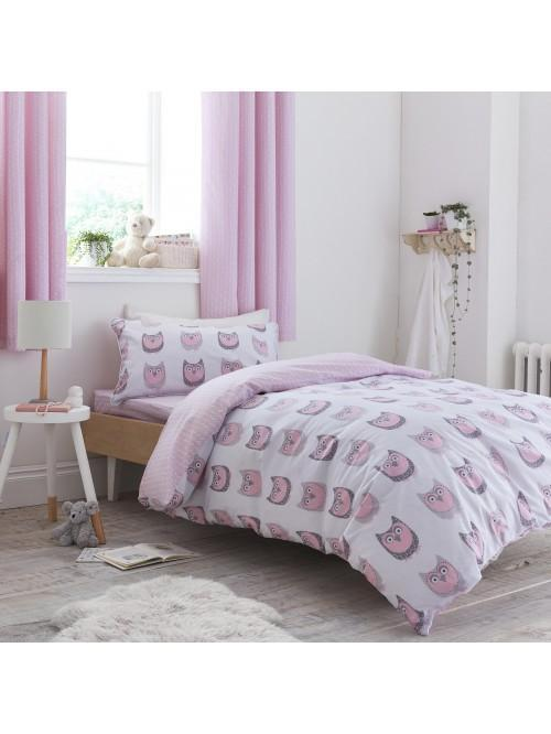 Little Bianca Owl Cotton Print Duvet Set Blush