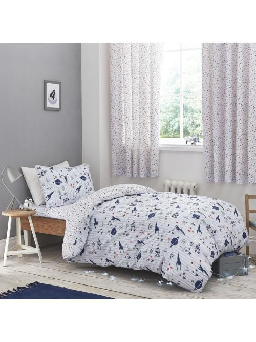 Little Bianca Space Cotton Print Duvet Set Blue