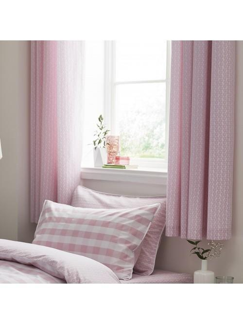 Little Bianca Ditsy Cotton Print Eyelet Curtains Blush