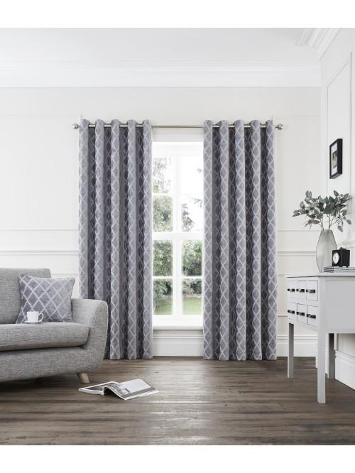 Imperial Chenille Jacquard Eyelet Curtains Silver