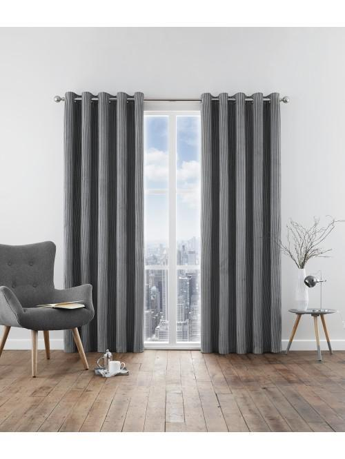 Kennington Chenille Eyelet Curtains Grey
