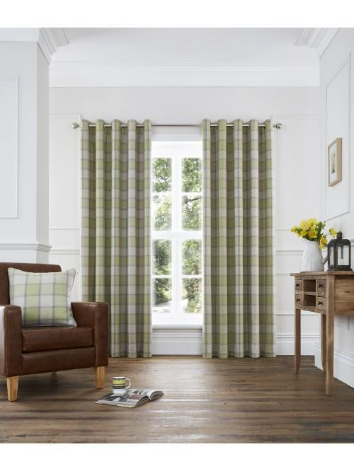 Kilbride Woven Check Eyelet Curtains Green