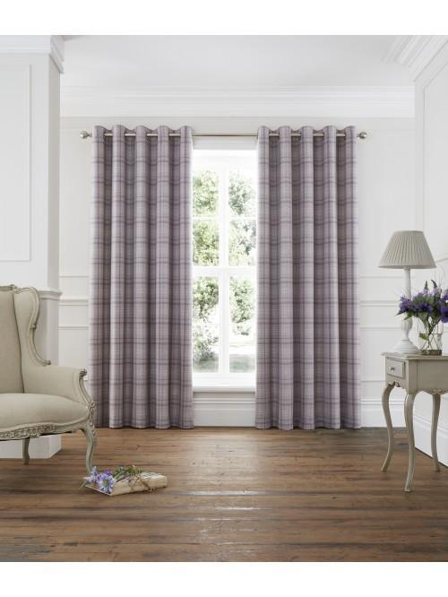 Kinley Woven Check Eyelet Curtains Heather