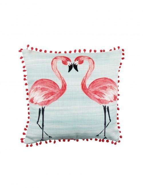 Kissing Flamingo Cushion Duck Egg