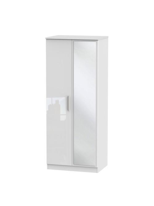 Athena Mirror Wardrobe White Gloss