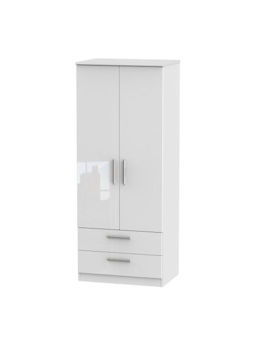 Athena 2 Drawer Wardrobe White Gloss