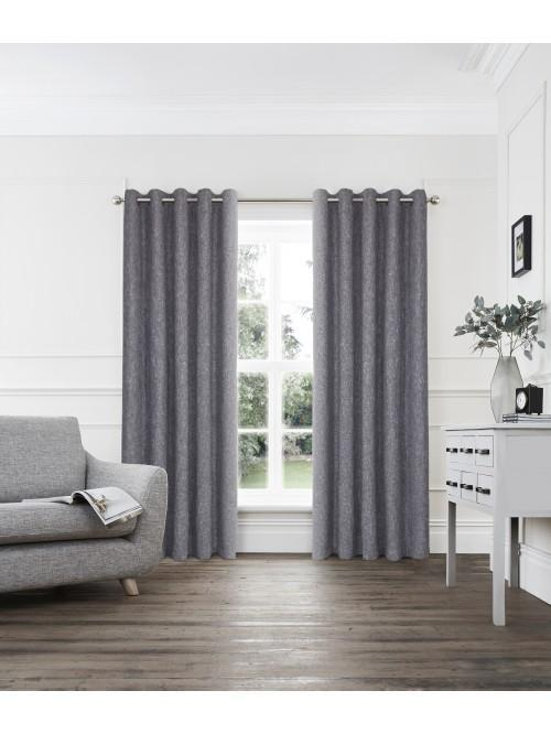 Layton Boucle Blended Eyelet Curtains Grey