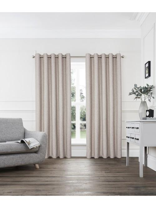 Layton Boucle Blended Eyelet Curtains Natural