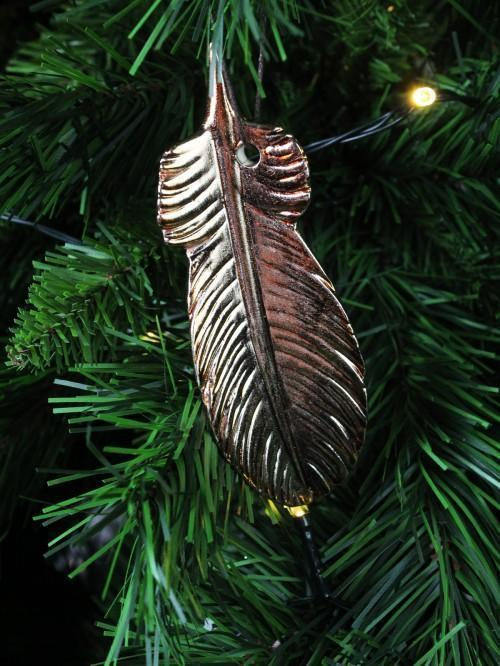 Rose Gold Feather Hanging Tree Decoration