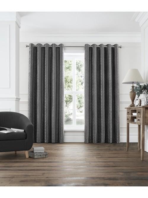 Leaf Trail Eyelet Curtains Grey