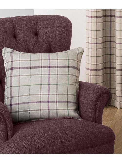 Lewis Check Curtain Cushion Plum
