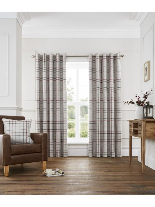 Lewis Check Blackout Eyelet Curtains Rust