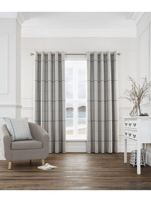 Lewis Check Blackout Eyelet Curtains Teal