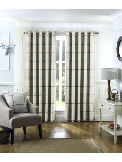 Lewis Check Blackout Eyelet Curtains Multi