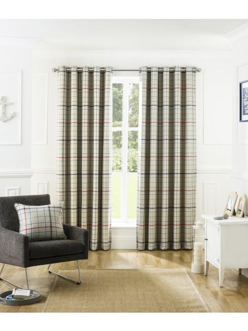Lewis Check Blackout Eyelet Curtains Navy
