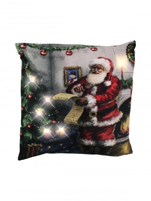Santa Light Up Cushion Red
