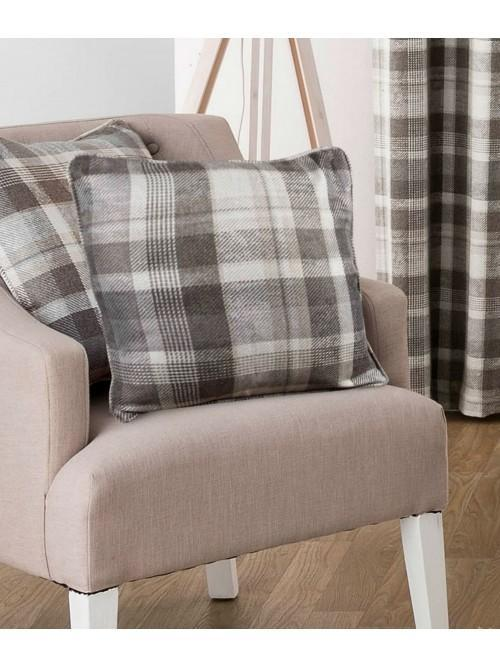 Linden Woven Check Curtain Cushions Natural