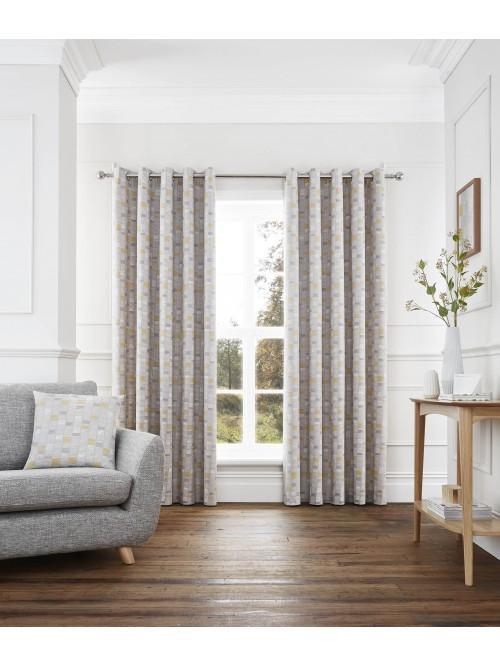 Linear Eyelet Curtains Ochre