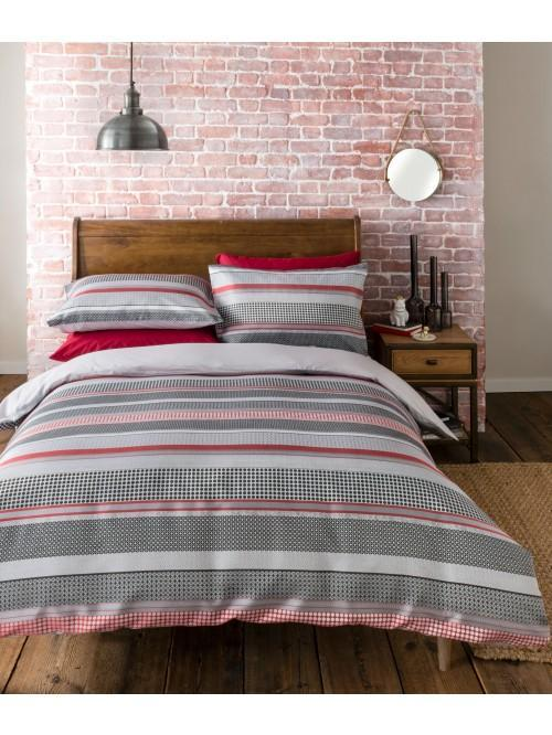 Lomas Stripe Duvet Set Red