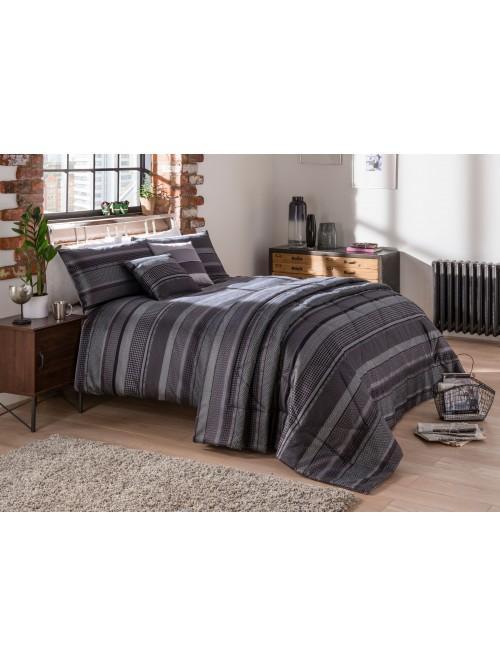 Lomas Stripe Jacquard Bedding Collection Black