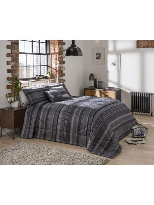 Lomas Stripe Jacquard Bedspread Black