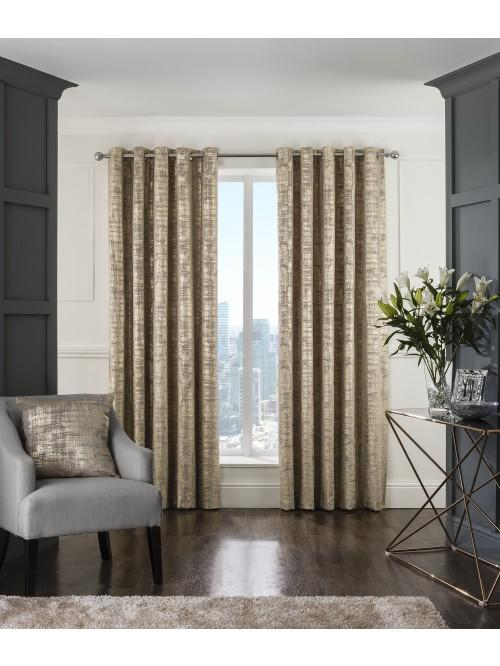Luxor Eyelet Curtains Gold