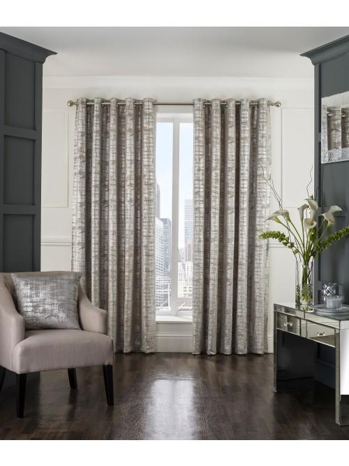 Luxor Eyelet Curtains Silver