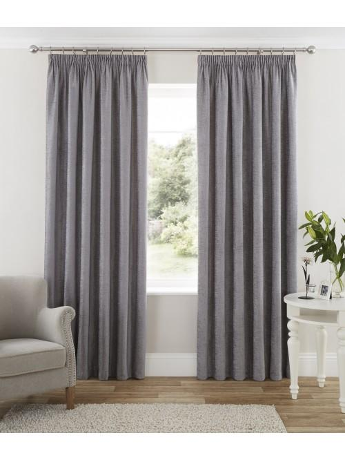 Luxury Chenille Pencil Pleat Curtains Grey