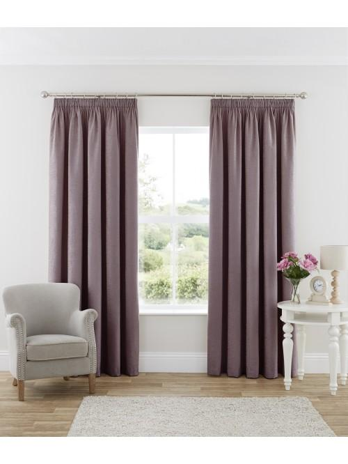 Luxury Chenille Pencil Pleat Curtains Heather