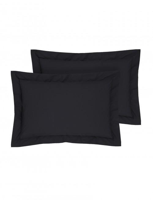 Luxury Percale Oxford Pillowcase Pair Black