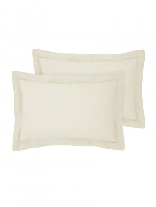 Luxury Percale 200 Thread Count Oxford Pillowcase Pair Buttermilk