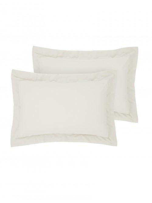 Luxury Percale 200 Thread Count Oxford Pillowcase Pair Ecru