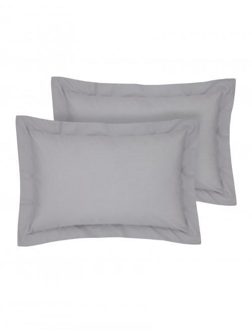 Luxury Percale 200 Thread Count Oxford Pillowcase Pair Grey